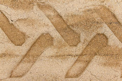 Wheel track on sand ground Royalty Free Stock Photography