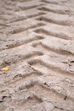 Wheel track on sand ground Stock Photo