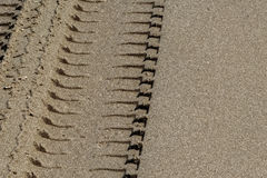 Wheel Track on Sand Stock Image