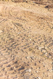 Wheel tracks on dirt Royalty Free Stock Image