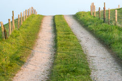 Wheel tracks on a dirt road to a dike Royalty Free Stock Image