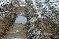 Wheel tracks on dirt and snow, impassable section of road Stock Images