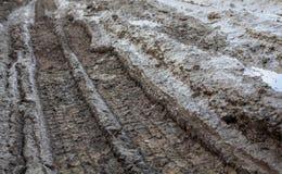 Wheel tracks on the muddy dirt road Stock Image