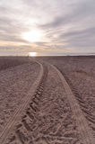 Wheel Tracks in the Sand Stock Photography