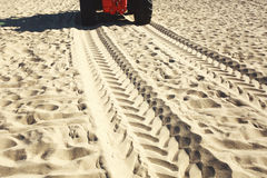 Wheel tracks on a sandy beach Royalty Free Stock Image