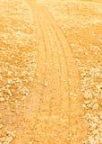 Wheel tracks on the soil Stock Photography
