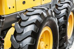 Wheel of the tractor or other construction equipment large Royalty Free Stock Image