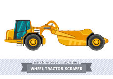 Wheel tractor-scraper for earthwork operations Stock Photography