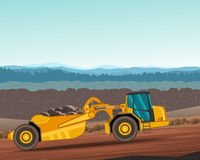 Wheel tractor-scraper for earthwork operations Stock Images