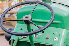 Wheel tractor. View from Fahersitz a tractor, tug on the steering wheel Stock Image