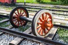 Wheel of Train on Railway Royalty Free Stock Images