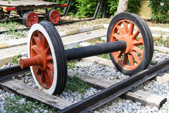 Wheel of Train on Railway Stock Image