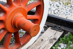 Wheel of Train on Railway Royalty Free Stock Photo