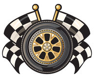 Wheel and two crossed checkered flags Royalty Free Stock Photo