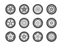 Wheel, tyre and tire collection of icons Royalty Free Stock Photos