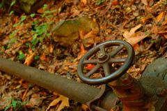 Wheel valve on water pipe in woods. A large, spoked wheel valve on a water pipe in the autumn woods Stock Image