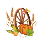 Wheel with Vegetables and Stalks Vector Royalty Free Stock Image