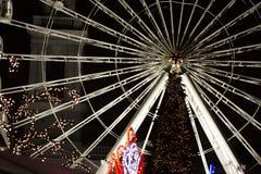 Wheel of View at Kontraktova Square, Kiev. Night city. Close up stock image