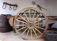 Wheel. Village life. Cart with barrel for wine. Spain Royalty Free Stock Images
