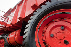 Wheel of vintage mining truck Stock Images
