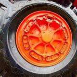 Wheel of vintage mining truck Royalty Free Stock Photo