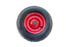 Wheel for wheelbarrow. Red wheel for wheelbarrow isolated on white background Stock Photo