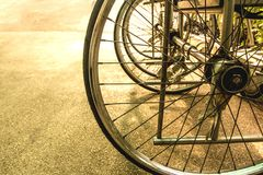 Wheel of the wheelchair in the hospital. Royalty Free Stock Image