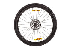 Wheel whish front disc brake  for mountain bike. Stock Photo
