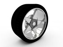 Wheel  on white. 3d steel wheel  on white Royalty Free Stock Photography