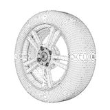 Wheel on a white wire model Royalty Free Stock Images