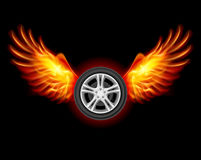 Wheel with Wings. Wheel with fire wings. Illustration on black Stock Image