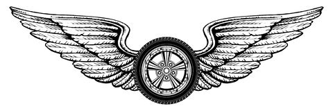 Wheel With Wings royalty free illustration