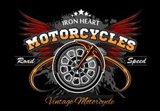 Wheel and wings - motorcycle wheel vector illuastration Royalty Free Stock Photography