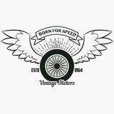 Wheel with wings. Vintage hipster logo. Print for design stock illustration