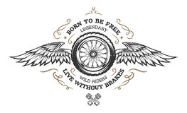 Wheel and wings in vintage style. Stock Photo