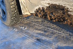 Wheel winter icy road Stock Image