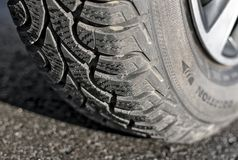Wheel with winter tyre on the asphalt Stock Photography