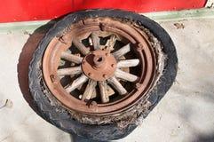 Wheel with wooden spokes Stock Photos