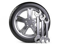 Wheel and wrench. Car service 3d icon. Stock Image