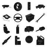 Wheel, wrench, jack and other equipment. Car set collection icons in black style vector symbol stock illustration web. Stock Photo