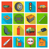Wheel, wrench, jack and other equipment. Car set collection icons in flat style vector symbol stock illustration web. Royalty Free Stock Photos