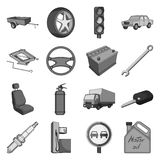 Wheel, wrench, jack and other equipment. Car set collection stock illustration Stock Photos