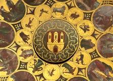 Wheel of zodiac in Prague. Detail of a astronomical clock in Prague in Czech republic - Zodiac royalty free stock photos