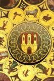 Wheel of zodiac in Prague. Detail of a astronomical clock in Prague in Czech republic - Zodiac royalty free stock photography
