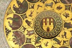Wheel of zodiac in Prague. Detail of a astronomical clock in Prague in Czech republic - Zodiac royalty free stock images