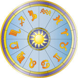 Wheel and zodiac signs Royalty Free Stock Photos