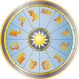 Wheel and zodiac signs Royalty Free Stock Photos