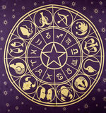 Wheel of Zodiac symbols. Printed on textile Royalty Free Stock Image
