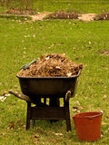Wheelbarrel and bucket. Wheelbarrel filled with hay and red gardening bucket in front of garden Royalty Free Stock Photo