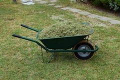Wheelbarrow έκοψε το χορτοτάπητα χλόης Στοκ Εικόνα